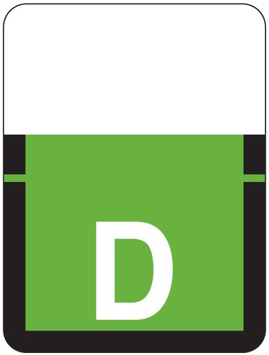Tab Products 1307 Match Alpha Roll Labels - Letter D - Light Green Label