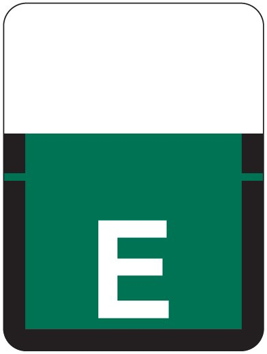 Tab Products 1307 Match Alpha Roll Labels - Letter E - Dark Green Label
