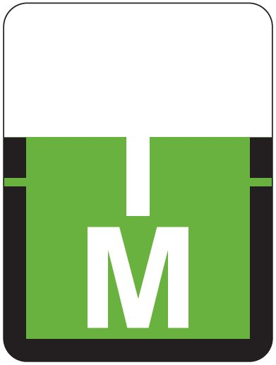 Tab Products 1307 Match Alpha Roll Labels - Letter M - Light Green Label