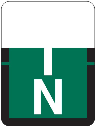 Tab Products 1307 Match Alpha Roll Labels - Letter N - Dark Green Label