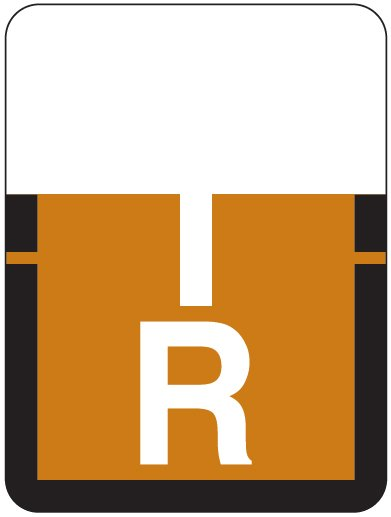 Tab Products 1307 Match Alpha Roll Labels - Letter R - Brown Label