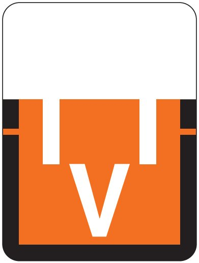 Tab Products 1307 Match Alpha Roll Labels - Letter V - Dark Orange Label