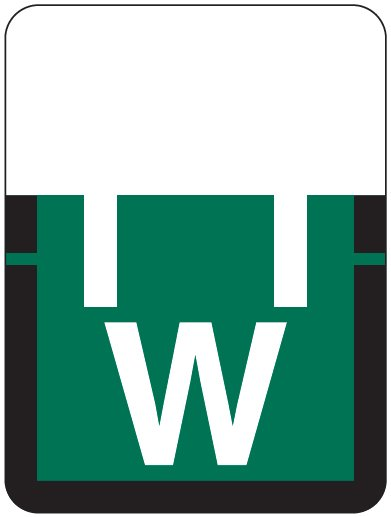Tab Products 1307 Match Alpha Roll Labels - Letter W - Dark Green Label