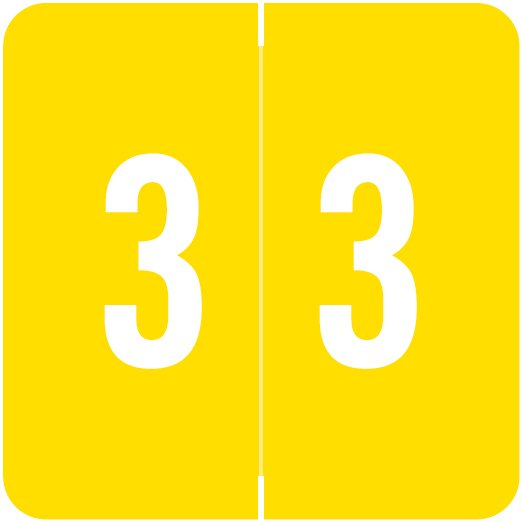 ACME Match ACNM Series Numeric Color Roll Labels - Number 3 - Yellow