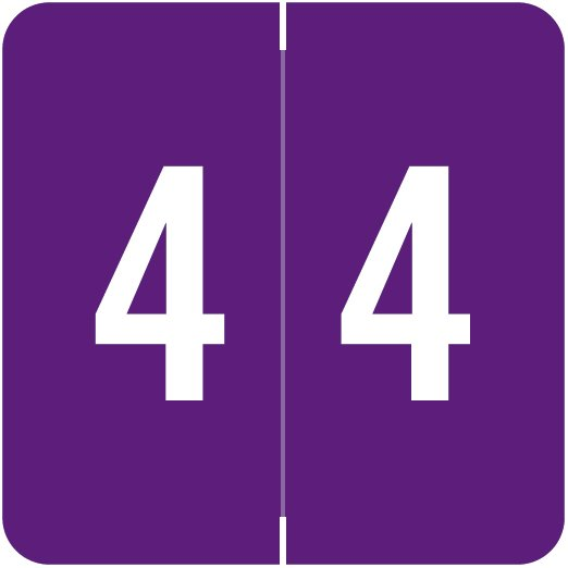 ACME Match ACNM Series Numeric Color Roll Labels - Number 4 - Purple