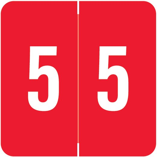 ACME Match ACNM Series Numeric Color Roll Labels - Number 5 - Red