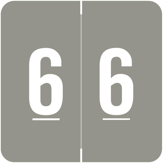 ACME Match ACNM Series Numeric Color Roll Labels - Number 6 - Gray