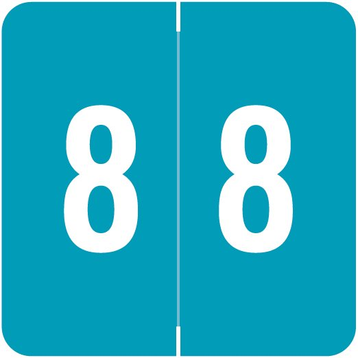 ACME Match ACNM Series Numeric Color Roll Labels - Number 8 - Blue