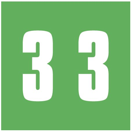 IFC #CL2300 Match System #3 Numeric Color Roll Labels - Number 3 - Green
