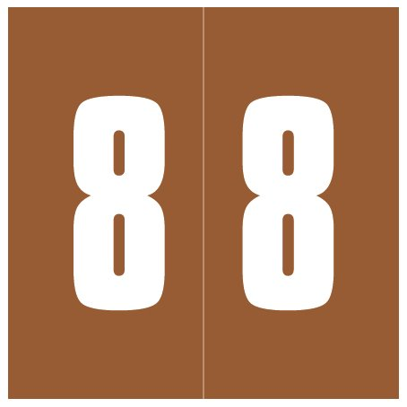 IFC #CL2300 Match System #3 Numeric Color Roll Labels - Number 8 - Brown