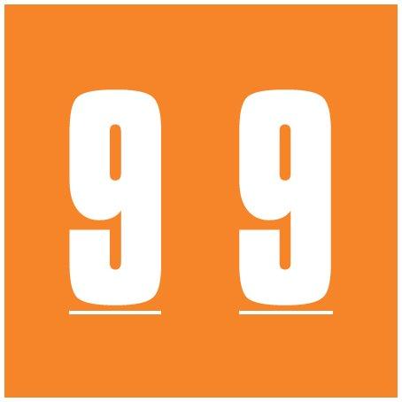 IFC #CL2300 Match System #3 Numeric Color Roll Labels - Number 9 - Orange