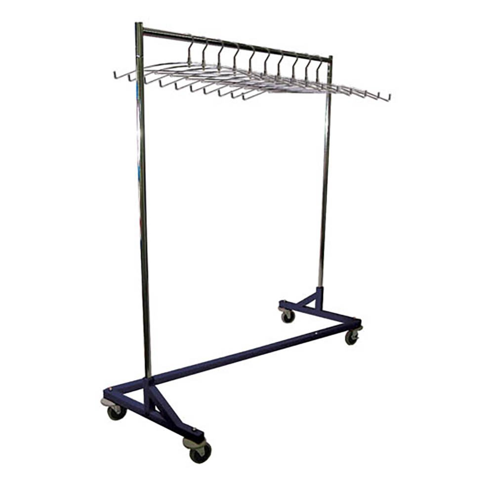 Mobile Z-Base Apron Storage Rack with 10 Steel Apron Hangers