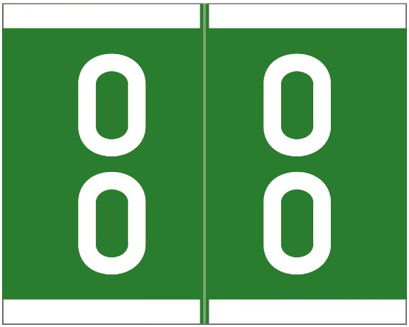 Barkley FDAVM Match AVDM Series Numeric Roll Labels - Number 00 To 09 - Green