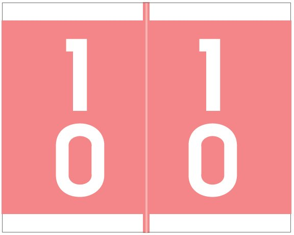 Barkley FDAVM Match AVDM Series Numeric Roll Labels - Number 10 To 19 - Pink