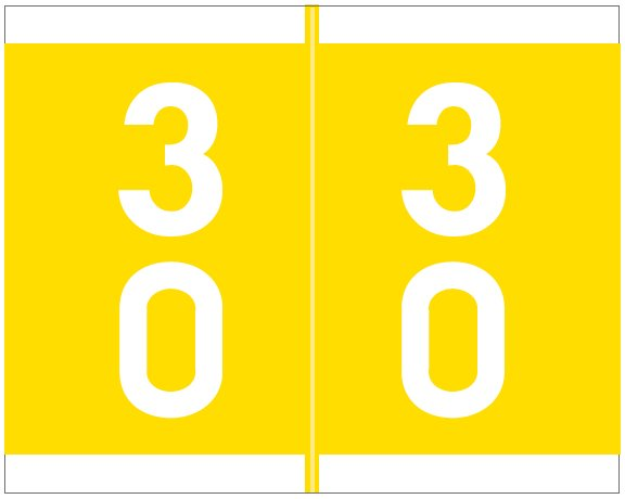 Barkley FDAVM Match AVDM Series Numeric Roll Labels - Number 30 To 39 - Yellow