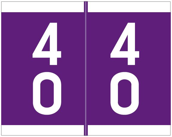 Barkley FDAVM Match AVDM Series Numeric Roll Labels - Number 40 To 49 - Purple