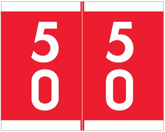 Barkley FDAVM Match AVDM Series Numeric Roll Labels - Number 50 To 59 - Red