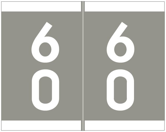 Barkley FDAVM Match AVDM Series Numeric Roll Labels - Number 60 To 69 - Gray