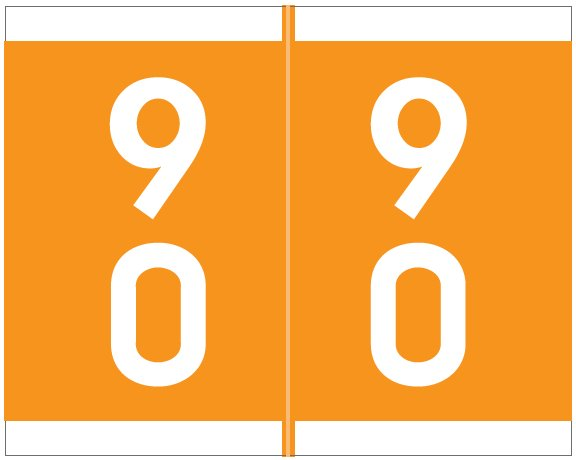 Barkley FDAVM Match AVDM Series Numeric Roll Labels - Number 90 To 99 - Orange