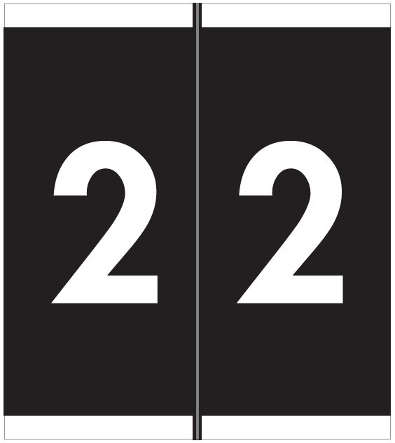 Barkley FNAVM Match AVNM Series Numeric Roll Labels - Number 2 - Black