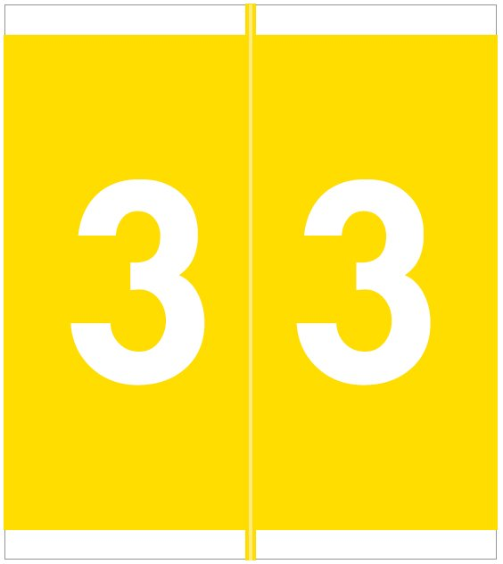Barkley FNAVM Match AVNM Series Numeric Roll Labels - Number 3 - Yellow