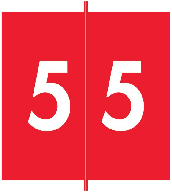 Barkley FNAVM Match AVNM Series Numeric Roll Labels - Number 5 - Red