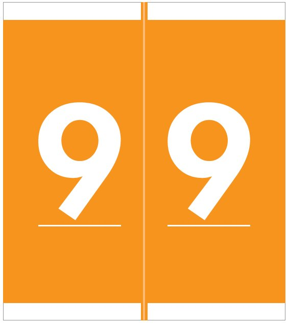 Barkley FNAVM Match AVNM Series Numeric Roll Labels - Number 9 - Orange