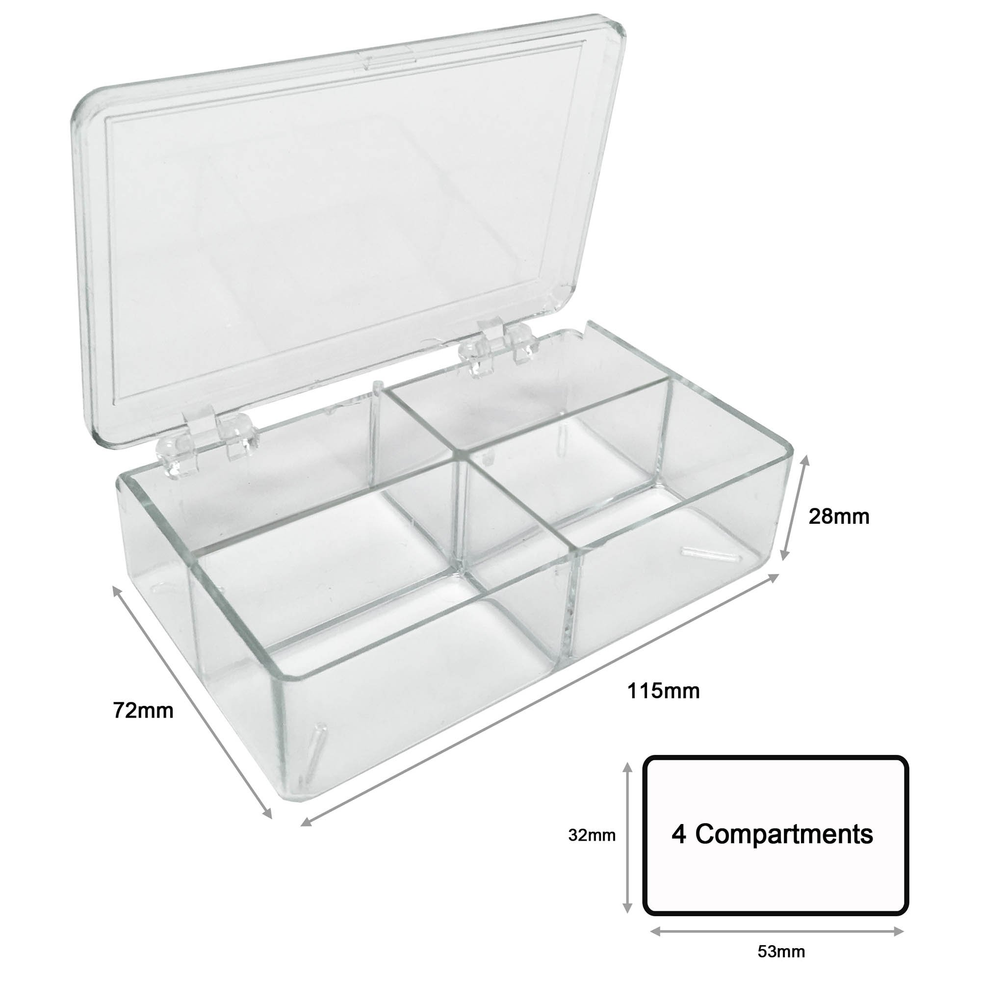 MultiBox Clear Western Blot Box - 4 Compartments 32 x 53 x 28mm Each (Pack of 6)
