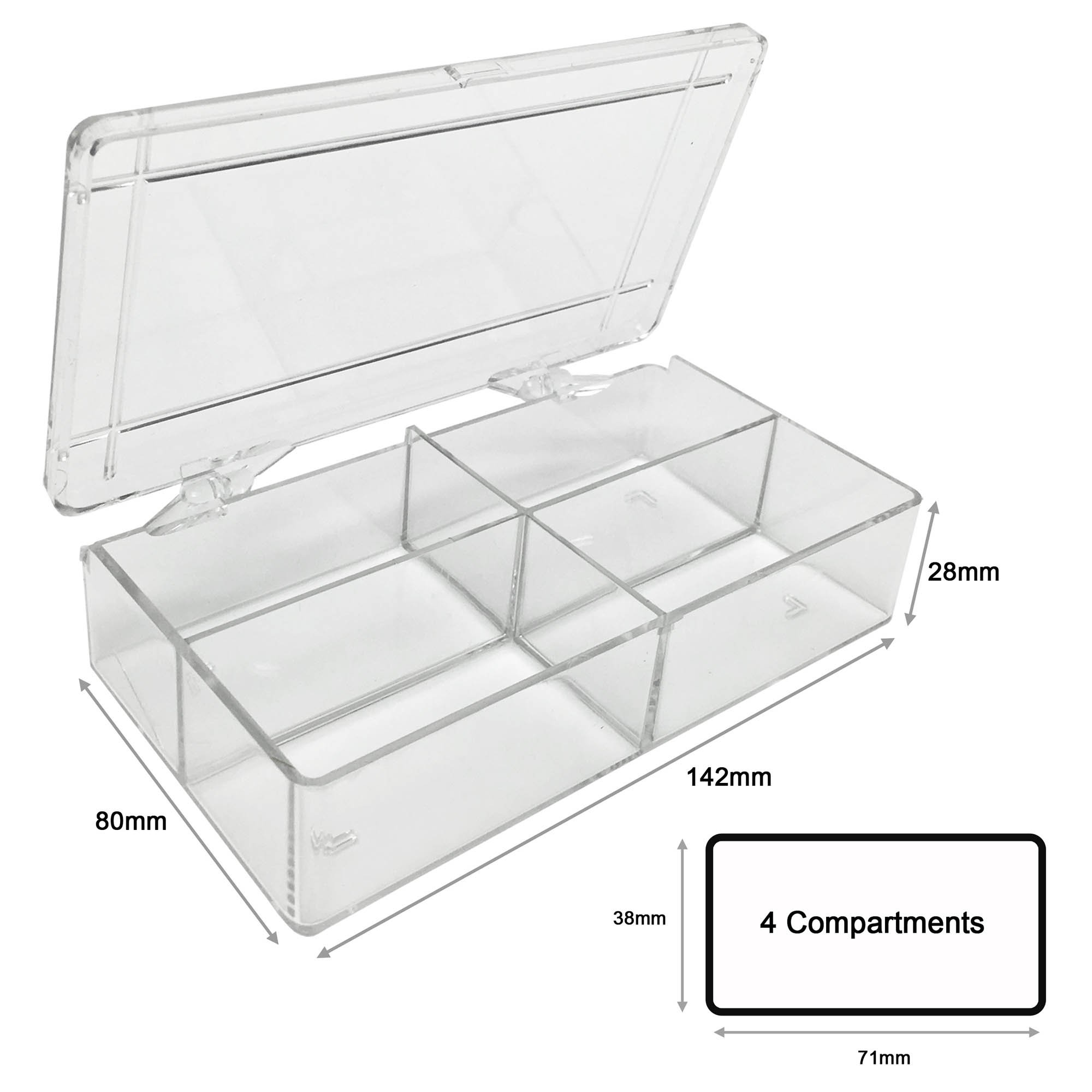 MultiBox Clear Western Blot Box - 4 Compartments 38 x 71 x 28mm Each (Pack of 6)