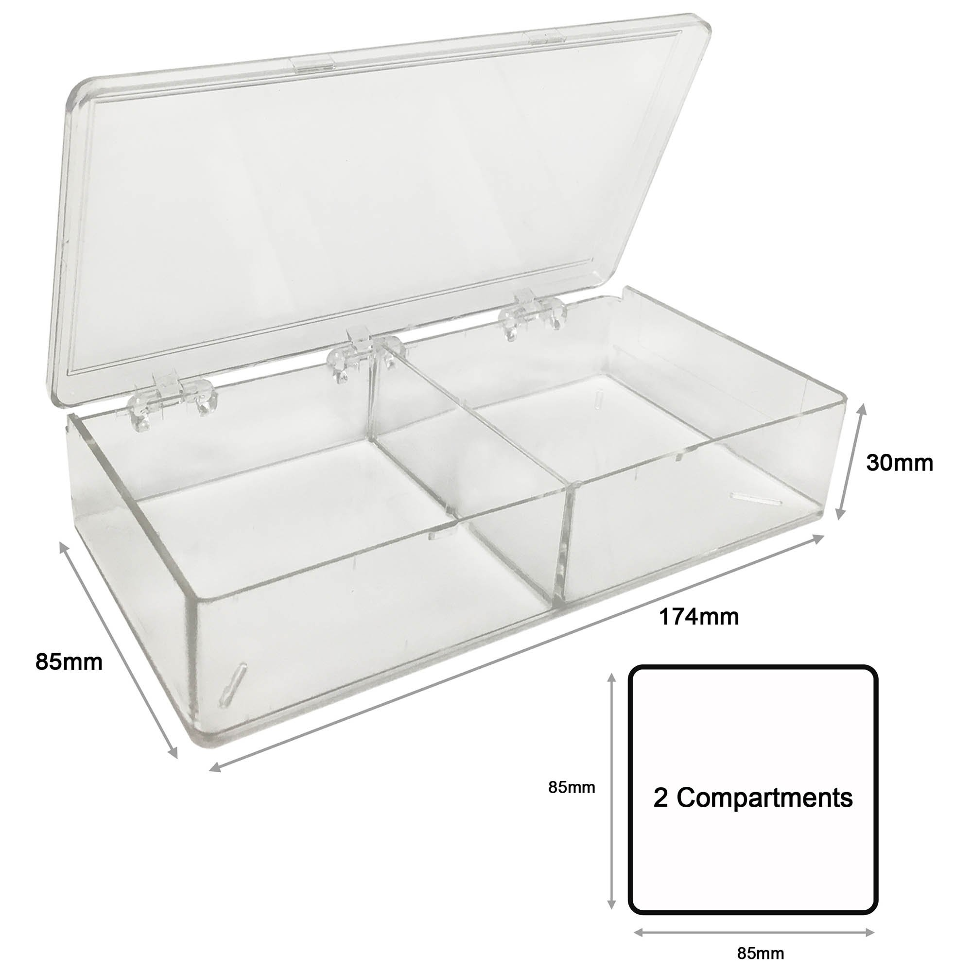 MultiBox Clear Western Blot Box - 2 Compartments 85 x 85 x 30mm Each (Pack of 6)