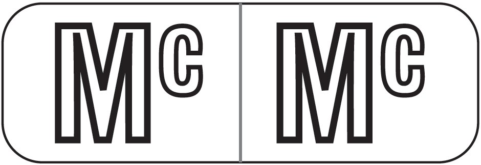 Barkley FABAM Match BAAM Series Alpha Roll Labels - Letter MC - White Label