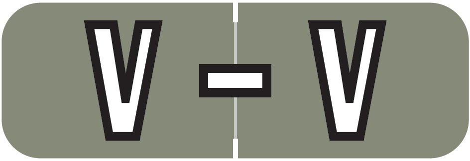 Barkley FABAM Match BAAM Series Alpha Roll Labels - Letter V - Gray Label