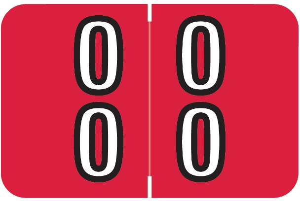 Barkley FDBKM Match BADM Series Numeric Roll Labels - Number 00 To 09 - Red