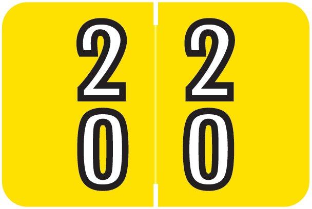 Barkley FDBKM Match BADM Series Numeric Roll Labels - Number 20 To 29 - Yellow