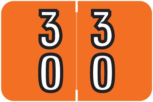 Barkley FDBKM Match BADM Series Numeric Roll Labels - Number 30 To 39 - Dark Orange