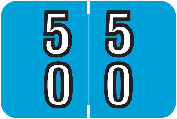 Barkley FDBKM Match BADM Series Numeric Roll Labels - Number 50 To 59 - Blue