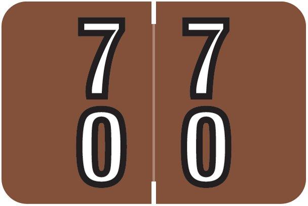 Barkley FDBKM Match BADM Series Numeric Roll Labels - Number 70 To 79 - Brown