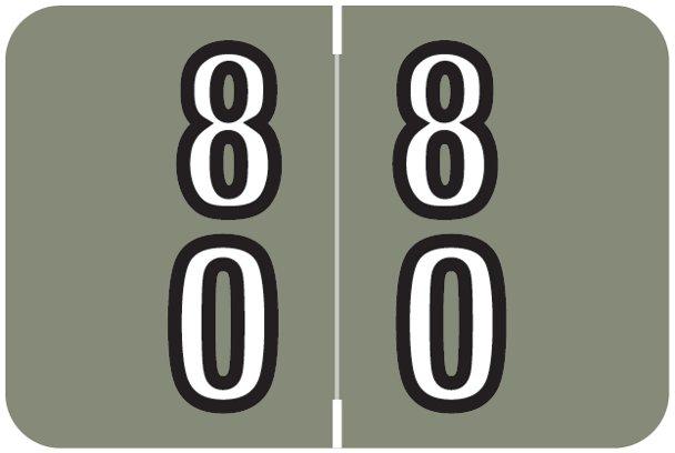 Barkley FDBKM Match BADM Series Numeric Roll Labels - Number 80 To 89 - Gray