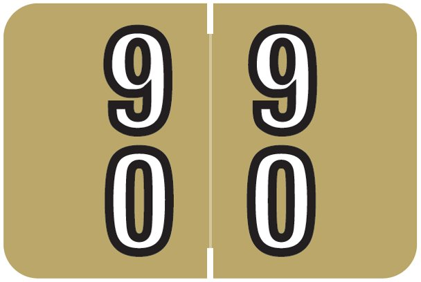Barkley FDBKM Match BADM Series Numeric Roll Labels - Number 90 To 99 - Gold
