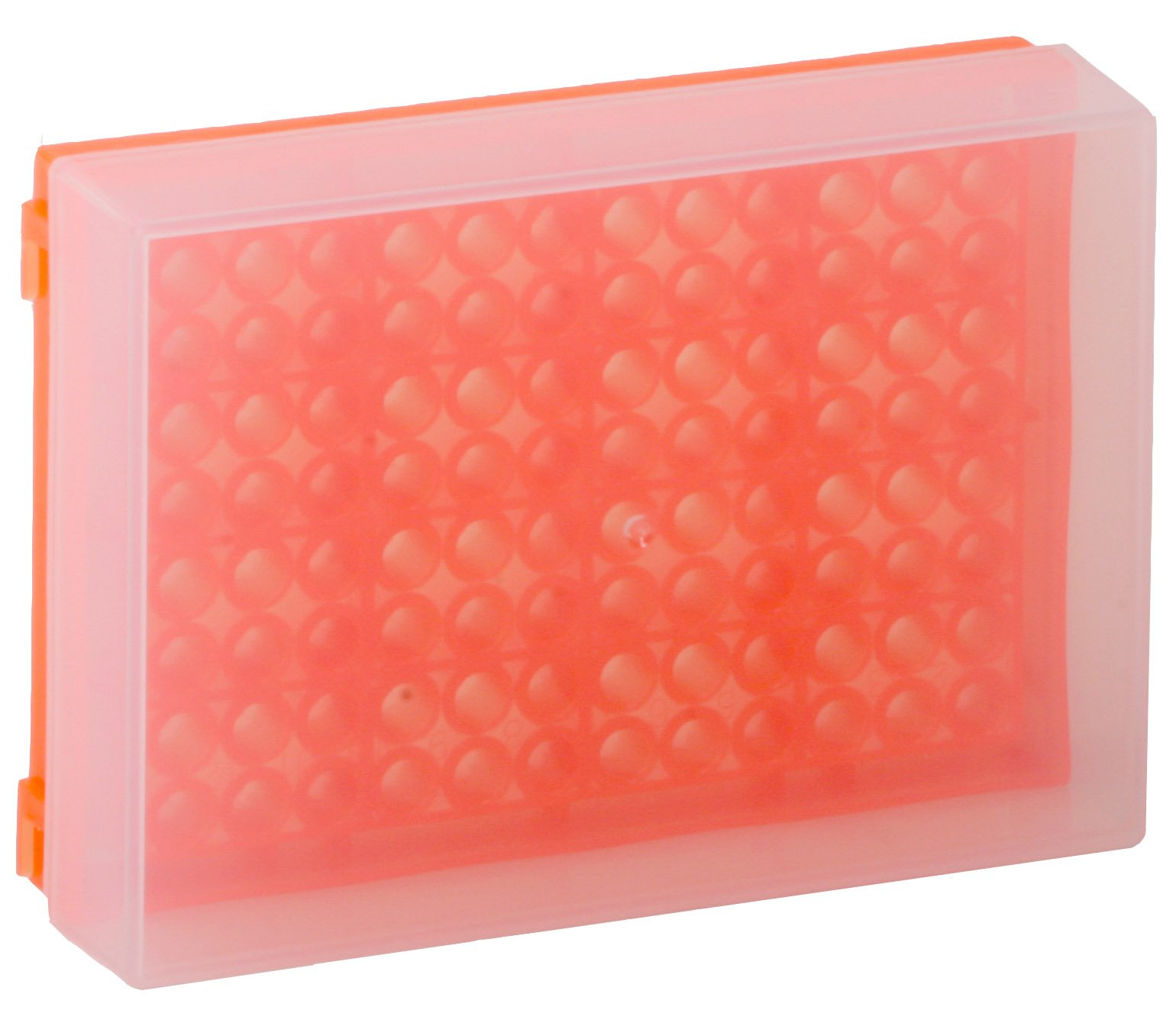 96-Well Preparation Rack with Cover - Fluorescent Orange