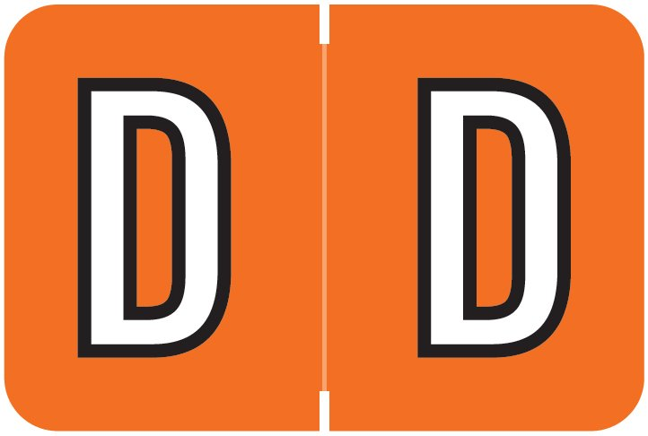 Barkley FABKM Match BRAM Series Alpha Roll Labels - Letter D - Dark Orange Label