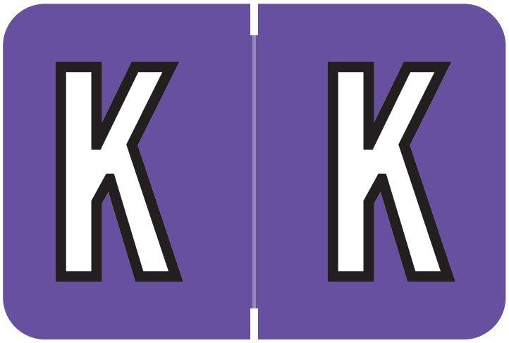 Barkley FABKM Match BRAM Series Alpha Roll Labels - Letter K - Purple Label