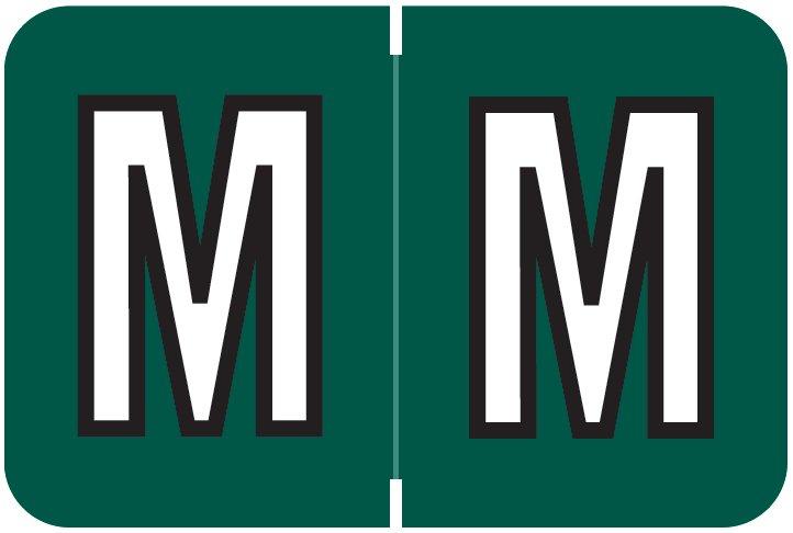 Barkley FABKM Match BRAM Series Alpha Roll Labels - Letter M - Dark Green Label