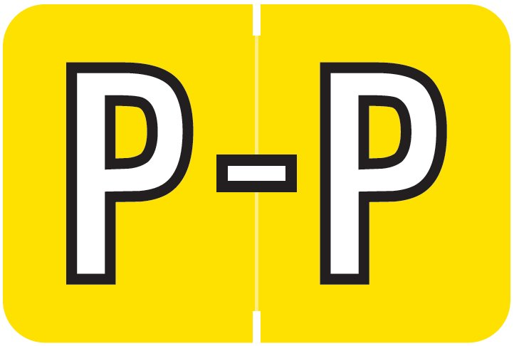 Barkley FABKM Match BRAM Series Alpha Roll Labels - Letter P - Yellow Label