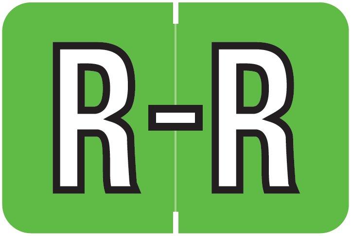 Barkley FABKM Match BRAM Series Alpha Roll Labels - Letter R - Light Green Label