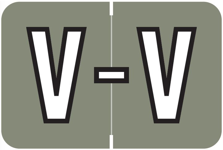 Barkley FABKM Match BRAM Series Alpha Roll Labels - Letter V - Gray Label