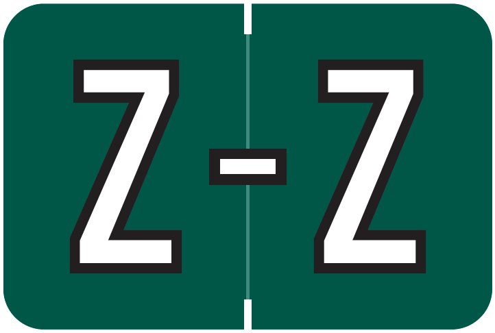 Barkley FABKM Match BRAM Series Alpha Roll Labels - Letter Z - Dark Green Label
