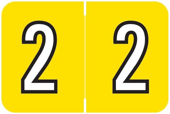 Barkley FNBKM Match BRNM Series Numeric Roll Labels - Number 2 - Yellow