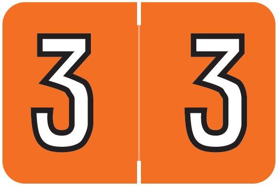 Barkley FNBKM Match BRNM Series Numeric Roll Labels - Number 3 - Dark Orange