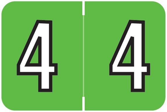 Barkley FNBKM Match BRNM Series Numeric Roll Labels - Number 4 - Green